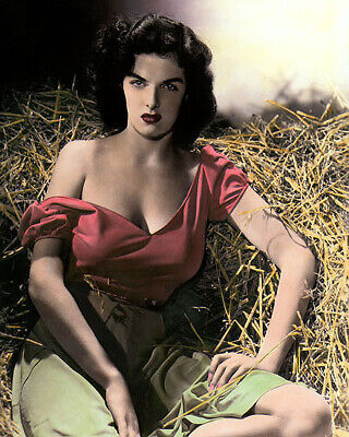 "JANE RUSSELL THE OUTLAW (2) 1943 HOLLYWOOD ACTRESS 8x10"" HAND COLOR TINTED PHOTO"