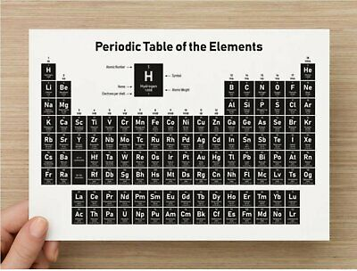 Periodic table of elements black & white print in A2 poster and A5 insert cards