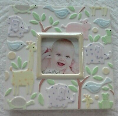 Grasslands Road Pastel Elephant Giraffe Turtle Bird Zoo Ceramic Baby Photo Frame