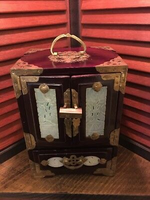 Antique/Vintage Chinese Dark Wooden Jewelry Box; w LOCK&KEY;;Oriental;Asian;RARE