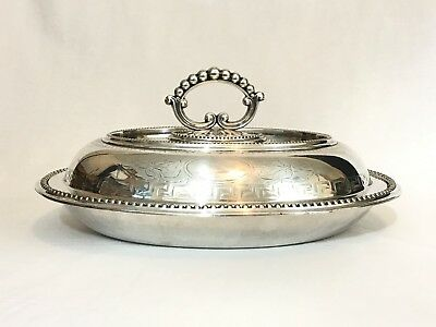 Antique Lee & Wigfull Sheffield Ornate Silver Plate Entree Serving Bowl w Lid