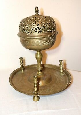 rare antique 1700's Ottoman Turkish brass handmade candlestick incense burner