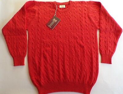 6db5939e2a52bf William Lockie crew neck 4 ply cashmere CABLE   RIB Sweater jumper 38