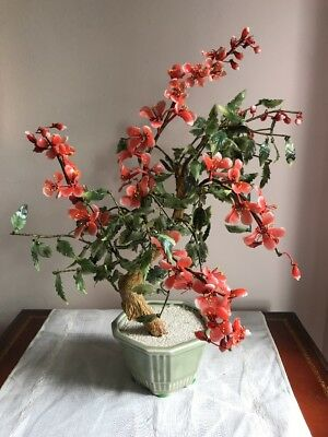 """Fantastic Large 20"""" Asian Glass Leave & Flower Gump Tree Beautiful Coral Flowers"""