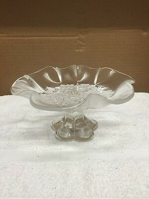 Floral Design Footed Glass Serving Dish