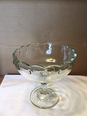 Vintage Thick Glass Stemmed Fruit Bowl