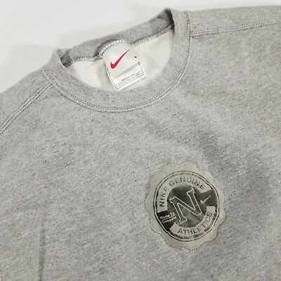 VTG 90s Nike Athletics Crewneck Sweatshirt LARGE Made in USA Gray Leather Patch