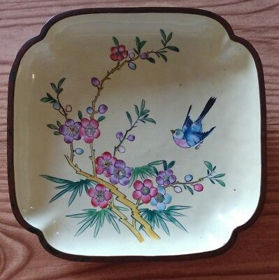 Antique CHINESE ENAMEL on Copper Hand Painted Square PLATE Dish Trinket Tray