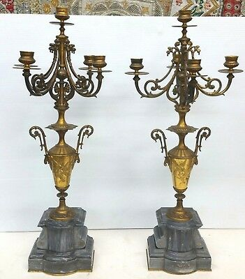 Antique Gilt Bronze Marble Continental Candelabra Pair 24 1/2''