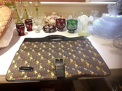 """From A Sample Sale,a Great Gift-""""l.a.m.b"""" Dark Brown&tan Convertible Tote/clutch"""