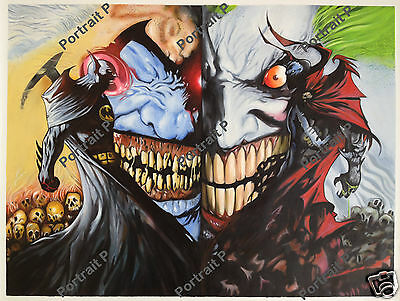 Batman Spawn Joker Oil Painting DC Comics Art Hand-Painted Not Print 30x40 #c