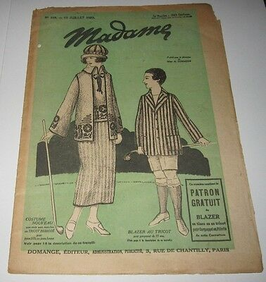 July 1922 French Publication - Madame - Costume Nouveau