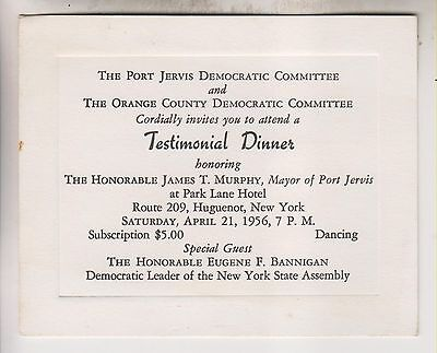 1956 Invitation Card - James T. Murphy - Democratic Mayor Of Port Jervis Ny