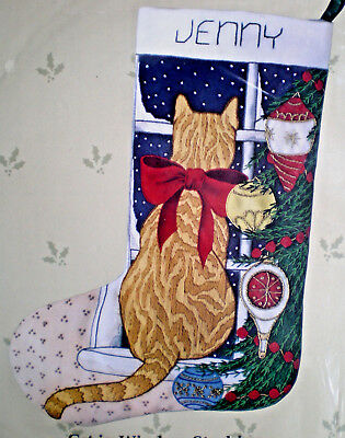 """Candamar """"Cat In Window Stocking"""" Crewel Embroidery Kit"""