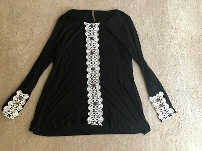 Moa Black With Lace Embroidered Long Sleeve Blouse Size Small