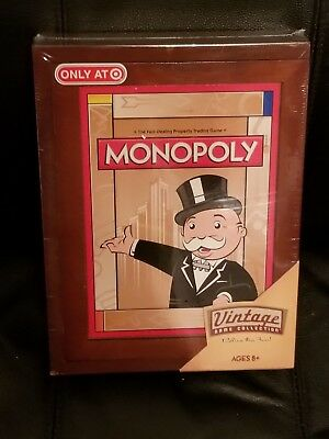 MONOPOLY Vintage Game Collection WOODEN Bookshelf Wood Box 2009 SEALED