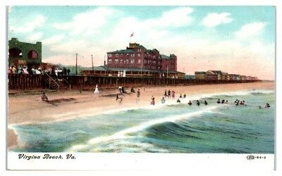 EARLY 1900S BEACH, Boardwalk, and Hotels, Virginia Beach, VA Postcard