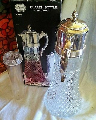 Crystal & Silver-Plate Claret Bottle Pitcher Decanter~Leonard Silver Mfg~Italy