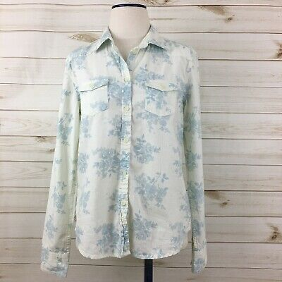 e024d4ab3f American Eagle Women s White Blue Floral Favorite Fit Denim Western Shirt. M