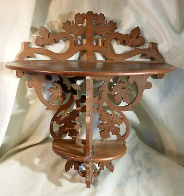 Vintage Ornate Fretwork Pierced Carved Wood 2 Tier Wall Shelf Bracket for Repair