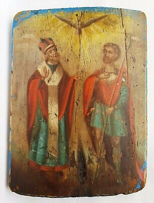 Antique 19th C Russian Hand Painted Wooden Icon of St.Nicholas and St.Nicetas