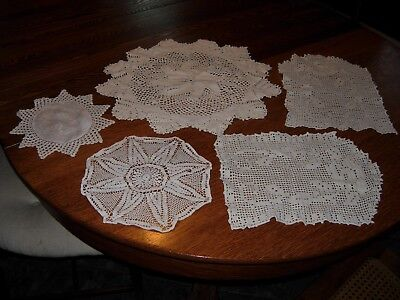 5 Vintage Antique Handmade Crochet Lace Doilies c.1935 made by my Great Grandma