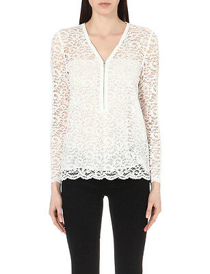 36853cb53 NWT $215 The Kooples Zip Up Lace floral-embroidered top Shirt Blouse in  white XS
