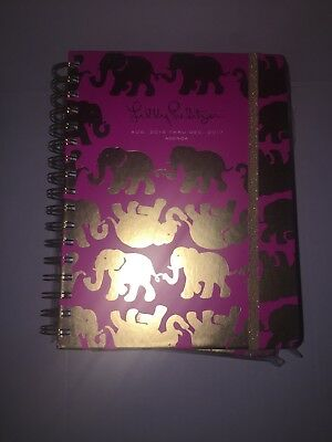 7x9 LILLY PULITZER 17 Month 2016-2017 Agenda Tusk In Sun Pink Gold Scrapbooking