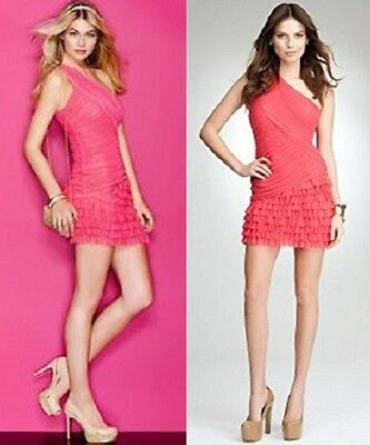 NWT bebe light pink one shoulder ruched ruffle mini top dress sexy club S small