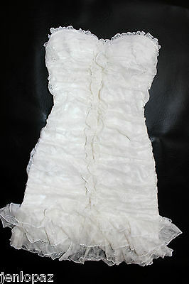 NWT bebe top white overall lace dress ruffle floral strapless tube bustier XXS