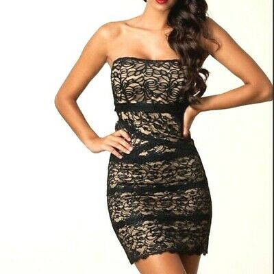 NWT bebe black beige ivory overlay lace mesh strapless sexy top dress XS 0 2 hot
