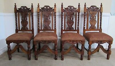 Carved Mahogany Monumental Gothic Dining Side Chairs, Set Of 4 Throne
