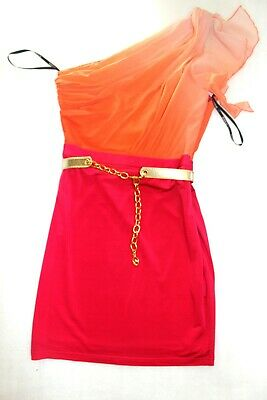 NWT Bebe coral pink one shoulder sheer gold belt colorblock top dress L Large