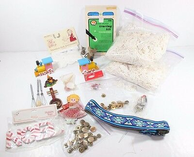 Vintage Junk Drawer Lot Knick Knack Christmas Craft Buttons Ornaments Trains Etc