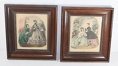 2 VTG Framed La Mode Illustree Leroy Imp. Paris Prints Wooden Ladies Victorian