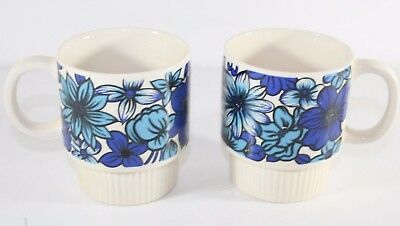 2 Vintage Mid Century Modern Stacking Coffee Cup Flower Power Groovy Blue