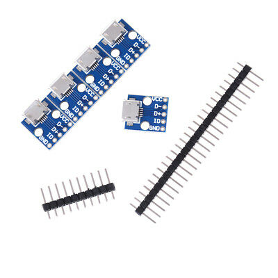 5Pcs Female Micro USB to DIP Adapter Converter 2.54mm PCB Breakout Board LE