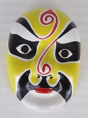"Vintage Asian Opera Face Mask Paper Mache Yellow/Black/Red/White 8 7/8"" x 6 1/2"""