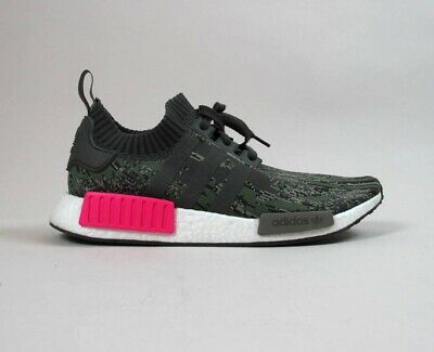 a340136ecab4d Adidas Nmd R1 Primeknit Sneakers In Utility Grey shock Pink Bz0222 Sz 11.5