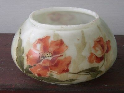 Antique VICTORIAN Opaque MILK Painted Art GLASS Bowl CachePot Candy Dish Poppies