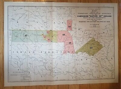 """RARE Original 1884 CC Royce Map CHEROKEE """"NATION OF"""" INDIANS West Of Mississippi"""