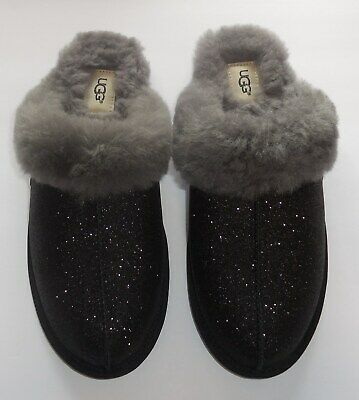 f8668bd6a7c Ugg Scuffette II Sparkle Slippers Womens Size 8 Black Slip On New 1100177