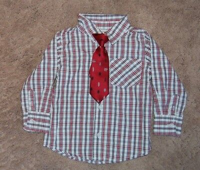 Old Navy Toddler Boy Button Down Holiday Shirt with Red Tie size 2T NWOT