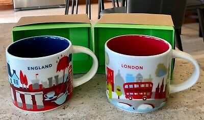 2 Starbucks London England Uk You Are Here Yah Collector Mugs Free Shipping