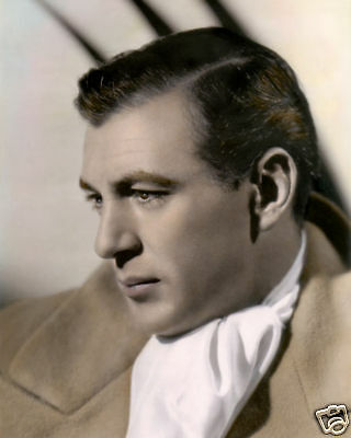 "GARY COOPER HOLLYWOOD ACTOR & MOVIE STAR 8x10"" HAND COLOR TINTED PHOTOGRAPH"