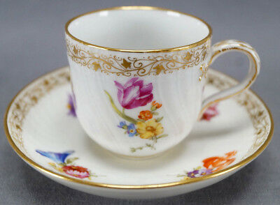 KPM Berlin Hand Painted Dresden Style Floral & Gold Demitasse Cup C 1870 - 1945