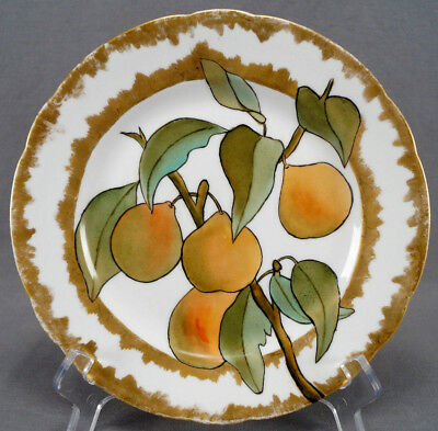 Late 19th Century Unmarked German Hand Painted Pears & Gold Luncheon Plate