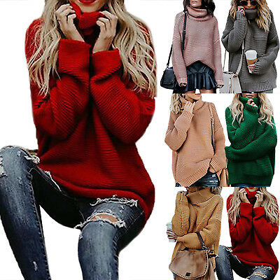 f3b099c4473 Womens Winter Warm Turtleneck Chunky Knitted Sweater Thick Pullover Jumper  Tops