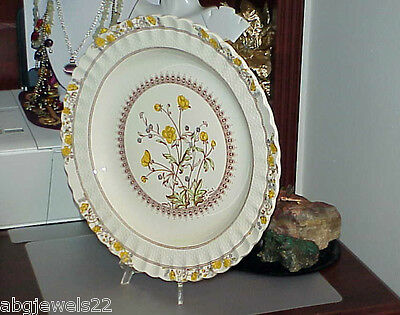 "Spode Buttercup 13"" Round Platter England Old Spode Mark Bright Color Antique"