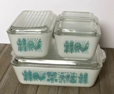 Vintage Pyrex Amish Butterprint 8 Pc Set Refrigerator Dishes 501 502 503 w/ Lids